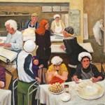 Ray Sokolowski, Painting & Sculpture,The Pierogi Makers, Easter Ukrainian, Pittsburgh, PA; Oil on Canvas