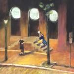 Ray Sokolowski Painting & Sculpture; Philadelphia night street scene oil painting.