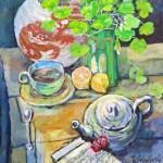 Ray Sokolowski, Painting & Sculpture,Tea with Shamrocks, Oil on Canvas